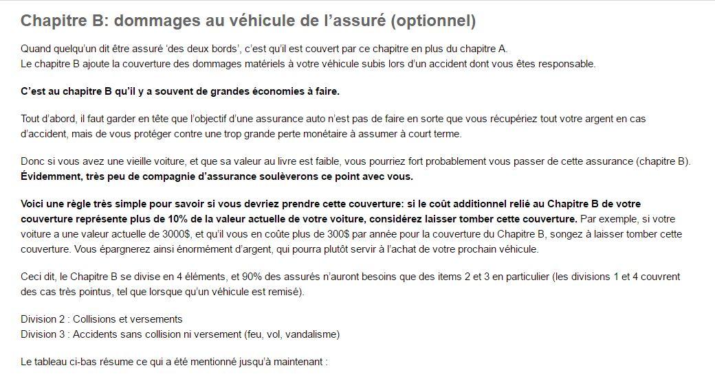 Chapitre B assurance automobile